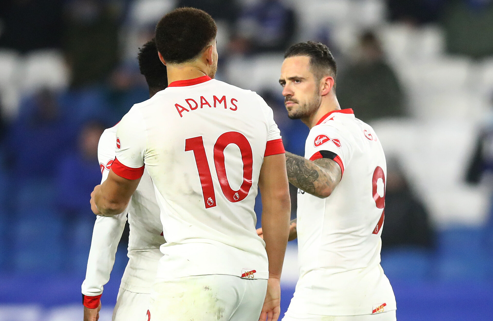 BRIGHTON, ENGLAND - DECEMBER 07: Danny Ings(centre right) of celebrates after scoring from the penalty spot during the Premier League match between Brighton & Hove Albion and Southampton at American Express Community Stadium on December 07, 2020 in Brighton, England. A limited number of fans (2000) are welcomed back to stadiums to watch elite football across England. This was following easing of restrictions on spectators in tiers one and two areas only. (Photo by Matt Watson/Southampton FC via Getty Images)