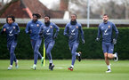 SOUTHAMPTON, ENGLAND - DECEMBER 09: Players warm up during a Southampton FC training session at the Staplewood Campus on December 09, 2020 in Southampton, England. (Photo by Matt Watson/Southampton FC via Getty Images)