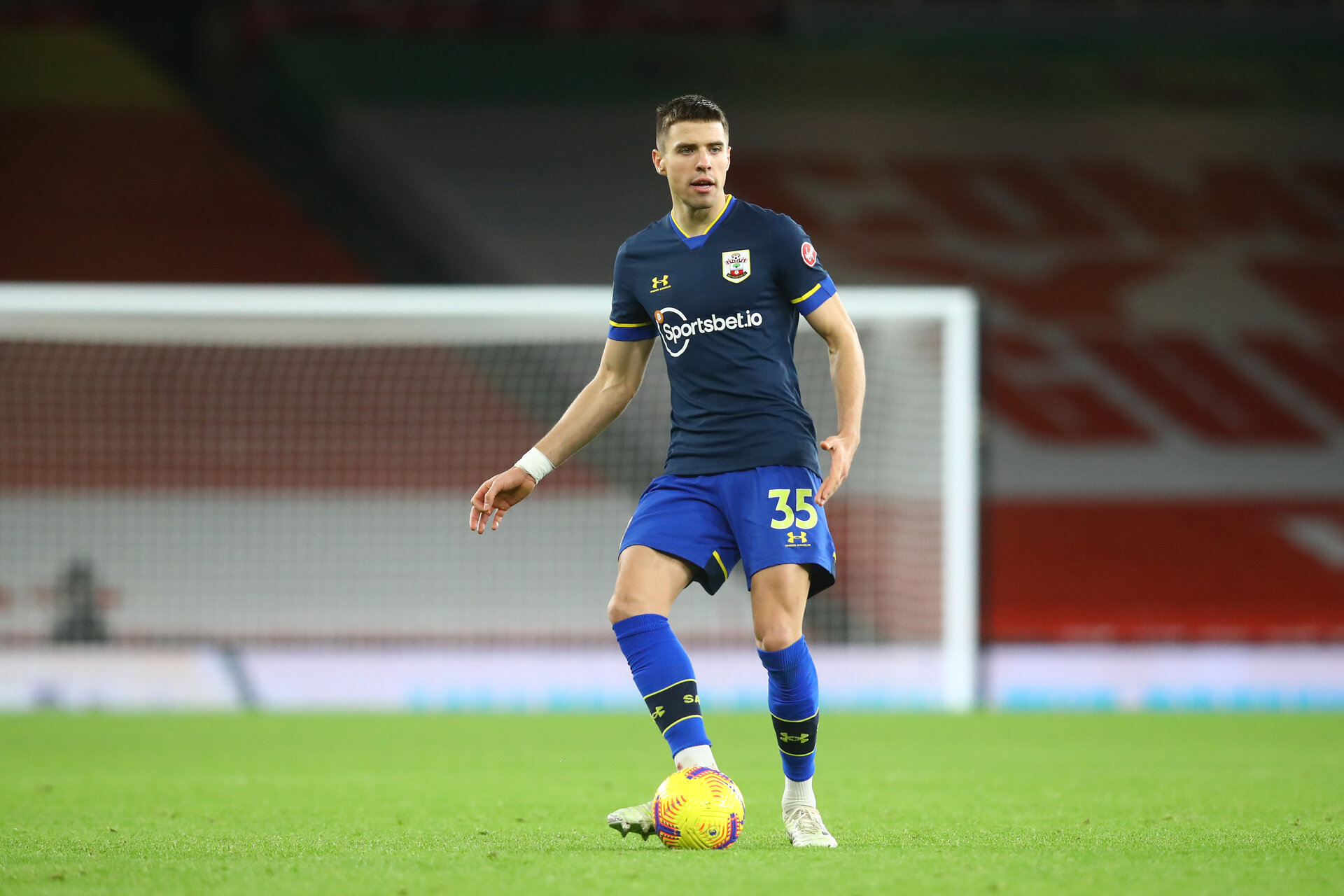 LONDON, ENGLAND - DECEMBER 16: Jan Bednarek of Southampton during the Premier League match between Arsenal and Southampton at Emirates Stadium on December 16, 2020 in London, England. The match will be played without fans, behind closed doors as a Covid-19 precaution. (Photo by Matt Watson/Southampton FC via Getty Images)