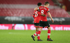 SOUTHAMPTON, ENGLAND - DECEMBER 19: Nathan Tella(L) and James Ward-Prowse of Southampton during the Premier League match between Southampton and Manchester City at St Mary's Stadium on December 19, 2020 in Southampton, England. A limited number of fans (2000) are welcomed back to stadiums to watch elite football across England. This was following easing of restrictions on spectators in tiers one and two areas only. (Photo by Matt Watson/Southampton FC via Getty Images)