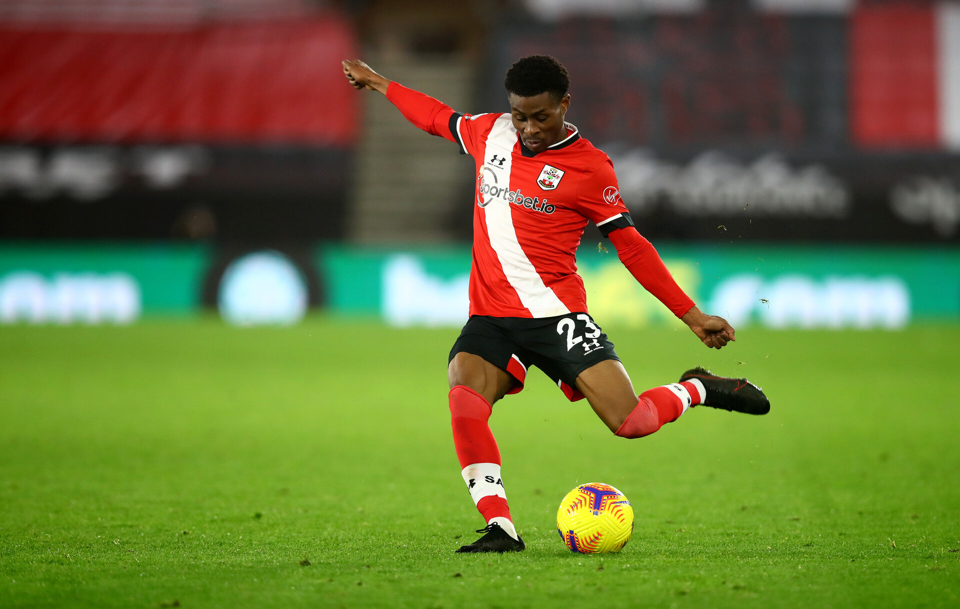 SOUTHAMPTON, ENGLAND - DECEMBER 19: Nathan Tella of Southampton during the Premier League match between Southampton and Manchester City at St Mary's Stadium on December 19, 2020 in Southampton, England. A limited number of fans (2000) are welcomed back to stadiums to watch elite football across England. This was following easing of restrictions on spectators in tiers one and two areas only. (Photo by Matt Watson/Southampton FC via Getty Images)
