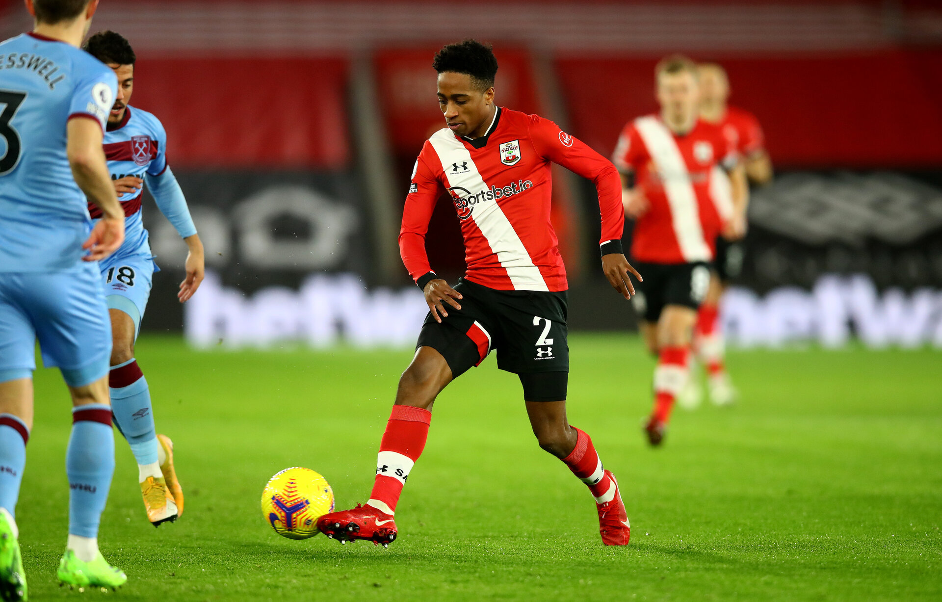 SOUTHAMPTON, ENGLAND - DECEMBER 29: Kyle Walker-Peters of Southampton during the Premier League match between Southampton and West Ham United at St Mary's Stadium on December 29, 2020 in Southampton, England. (Photo by Matt Watson/Southampton FC via Getty Images)