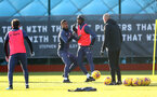 SOUTHAMPTON, ENGLAND - JANUARY 02: Yan Valery(L) an Dan N'Lundulu during a Southampton FC training session at the Staplewood Campus on January 02, 2021 in Southampton, England. (Photo by Matt Watson/Southampton FC via Getty Images)