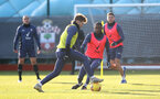 SOUTHAMPTON, ENGLAND - JANUARY 02: Stuart Armstrong(L) and Ibrahima Diallo during a Southampton FC training session at the Staplewood Campus on January 02, 2021 in Southampton, England. (Photo by Matt Watson/Southampton FC via Getty Images)