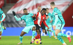 SOUTHAMPTON, ENGLAND - JANUARY 04: Georginio Wijnaldum (L) of Liverpool and Nathan Tella(R) of Southampton during the Premier League match between Southampton and Liverpool at St Mary's Stadium on January 04, 2021 in Southampton, England. (Photo by Matt Watson/Southampton FC via Getty Images)