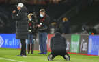 SOUTHAMPTON, ENGLAND - JANUARY 04: Ralph Hasenhuttl on his knees at the final whistle during the Premier League match between Southampton and Liverpool at St Mary's Stadium on January 04, 2021 in Southampton, England. (Photo by Matt Watson/Southampton FC via Getty Images)