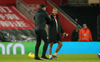 SOUTHAMPTON, ENGLAND - JANUARY 04: Ralph Hasenhuttl (L) and Theo Walcott(R) of Southampton during the Premier League match between Southampton and Liverpool at St Mary's Stadium on January 04, 2021 in Southampton, England. (Photo by Matt Watson/Southampton FC via Getty Images)