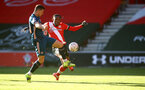 SOUTHAMPTON, ENGLAND - JANUARY 23: Dan N'Lundulu(R) of Southampton and Granit Xhaka(L) of Arsenal during the FA Cup fourth round match between Southampton FC and Arsenal FC, at St.Mary's stadium, on January 23, 2021 in Southampton, England. Sporting stadiums around the UK remain under strict restrictions due to the Coronavirus Pandemic as Government social distancing laws prohibit fans inside venues resulting in games being played behind closed doors. (Photo by Matt Watson/Southampton FC via Getty Images)