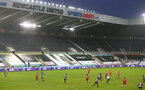 NEWCASTLE UPON TYNE, ENGLAND - FEBRUARY 06: general view during the Premier League match between Newcastle United and Southampton at St. James Park on February 06, 2021 in Newcastle upon Tyne, England. Sporting stadiums around the UK remain under strict restrictions due to the Coronavirus Pandemic as Government social distancing laws prohibit fans inside venues resulting in games being played behind closed doors. (Photo by Matt Watson/Southampton FC via Getty Images)