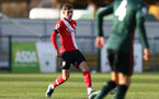 SOUTHAMPTON, ENGLAND - FEBRUARY 07: James Morris (L) of Southampton during the Premier League 2 match between  Southampton B Team and Tottenham Hotspur at Snows Stadium on February 07, 2021 in Southampton, England. (Photo by Isabelle Field/Southampton FC via Getty Images)