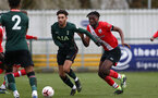 SOUTHAMPTON, ENGLAND - FEBRUARY 07: Allan Tchaptchet (R) of Southampton during the Premier League 2 match between  Southampton B Team and Tottenham Hotspur at Snows Stadium on February 07, 2021 in Southampton, England. (Photo by Isabelle Field/Southampton FC via Getty Images)