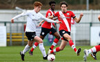 SOUTHAMPTON, ENGLAND - FEBRUARY 21: Ethan Burnett (R) of Southampton during Premier League 2 match between Southampton B Team and Derby County U23s at The Snows Stadium on February 21, 2021 in Southampton, England. (Photo by Isabelle Field/Southampton FC via Getty Images)