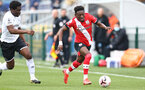 SOUTHAMPTON, ENGLAND - FEBRUARY 21: Kazeem Olaigbe (R) of Southampton during Premier League 2 match between Southampton B Team and Derby County U23s at The Snows Stadium on February 21, 2021 in Southampton, England. (Photo by Isabelle Field/Southampton FC via Getty Images)