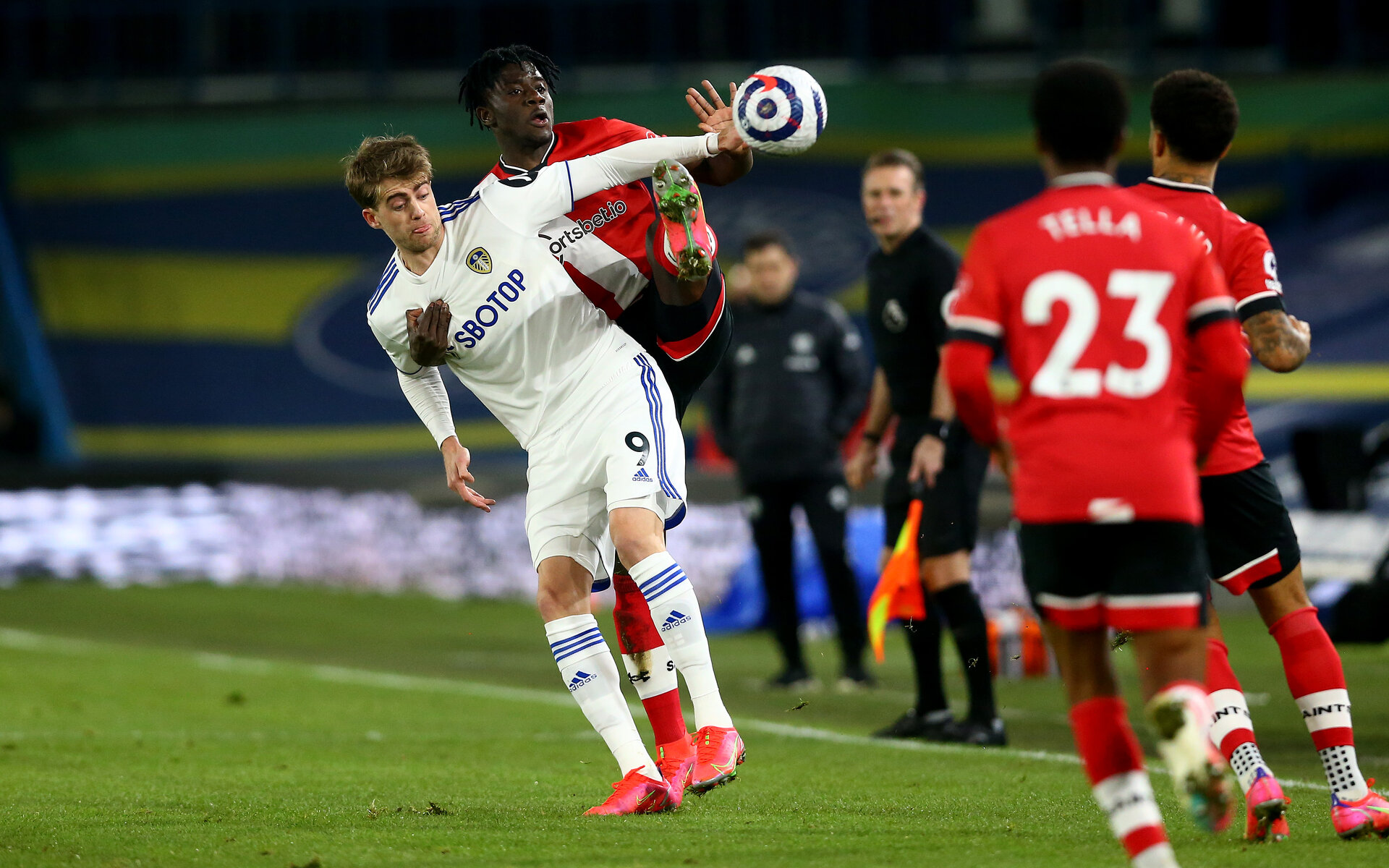 LEEDS, ENGLAND - FEBRUARY 23: Mohammed Salisu(R) of Southampton and Patrick Bamford(L) of Leeds during the Premier League match between Leeds United and Southampton at Elland Road on February 23, 2021 in Leeds, England. Sporting stadiums around the UK remain under strict restrictions due to the Coronavirus Pandemic as Government social distancing laws prohibit fans inside venues resulting in games being played behind closed doors. (Photo by Matt Watson/Southampton FC via Getty Images)
