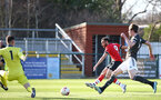 SOUTHAMPTON, ENGLAND - FEBRUARY 27: Jayden Smith (center) of Southampton during Premier League 2 match between Southampton B Team and Manchester United U23s at The Snows Stadium on February 27, 2021 in Southampton, England. (Photo by Isabelle Field/Southampton FC via Getty Images)