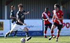 SOUTHAMPTON, ENGLAND - FEBRUARY 27: Ethan Burnett  (R) of Southampton during Premier League 2 match between Southampton B Team and Manchester United U23s at The Snows Stadium on February 27, 2021 in Southampton, England. (Photo by Isabelle Field/Southampton FC via Getty Images)