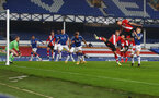 LIVERPOOL, ENGLAND - MARCH 01: Jan Bednarek (R) of with the header during the Premier League match between Everton and Southampton at Goodison Park on March 01, 2021 in Liverpool, England. Sporting stadiums around the UK remain under strict restrictions due to the Coronavirus Pandemic as Government social distancing laws prohibit fans inside venues resulting in games being played behind closed doors. (Photo by Matt Watson/Southampton FC via Getty Images)