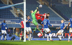 LIVERPOOL, ENGLAND - MARCH 01: Jannik Vestergaard of Southampton battling in the air during the Premier League match between Everton and Southampton at Goodison Park on March 01, 2021 in Liverpool, England. Sporting stadiums around the UK remain under strict restrictions due to the Coronavirus Pandemic as Government social distancing laws prohibit fans inside venues resulting in games being played behind closed doors. (Photo by Matt Watson/Southampton FC via Getty Images)