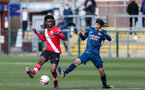 SOUTHAMPTON, ENGLAND - MARCH 06:  David Agbontohoma during the Premier League 2 match between  Southampton B Team and Arsenal at Snows Stadium on March 06, 2021 in Southampton, England. (Photo by Chris Moorhouse/Southampton FC via Getty Images)