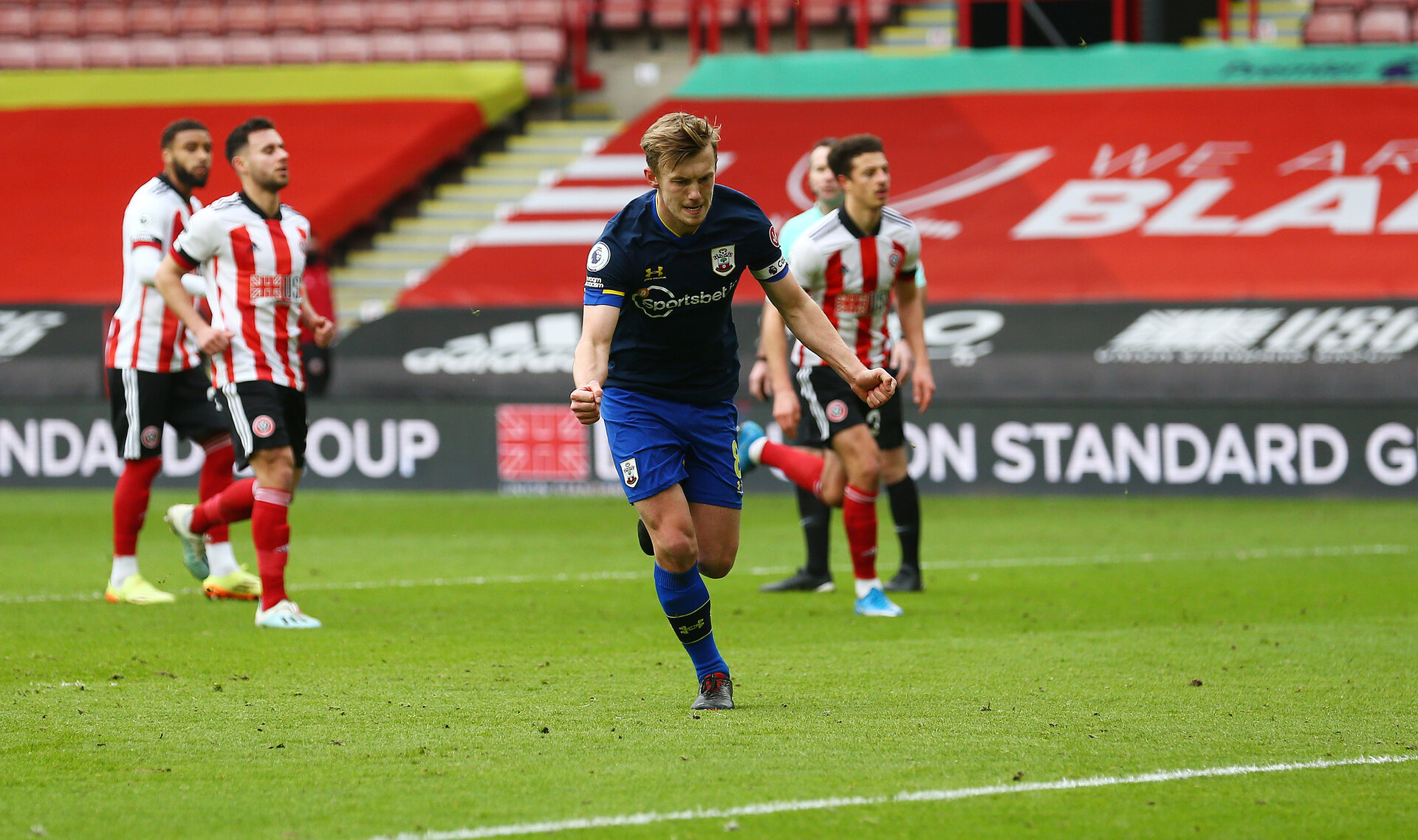 SHEFFIELD, ENGLAND - MARCH 06: James Ward-Prowse of Southampton celebrates after scoring from the penalty spot during the Premier League match between Sheffield United and Southampton at Bramall Lane on March 06, 2021 in Sheffield, England. Sporting stadiums around the UK remain under strict restrictions due to the Coronavirus Pandemic as Government social distancing laws prohibit fans inside venues resulting in games being played behind closed doors (Photo by Matt Watson/Southampton FC via Getty Images)