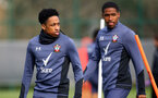 SOUTHAMPTON, ENGLAND - MARCH 08: Kyle Walker-Peters(L) and Kayne Ramsay during a Southampton FC training session at the Staplewood Campus on March 08, 2021 in Southampton, England. (Photo by Matt Watson/Southampton FC via Getty Images)
