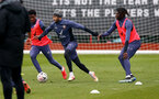 SOUTHAMPTON, ENGLAND - MARCH 17: Nathan Redmond(centre) during a Southampton FC training session at Staplewood Campus on March 17, 2021 in Southampton, England. (Photo by Matt Watson/Southampton FC via Getty Images)