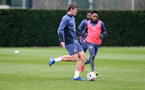 SOUTHAMPTON, ENGLAND - MARCH 17: Jannik Vestergaard(L) and Kyle Walker-Peters during a Southampton FC training session at Staplewood Campus on March 17, 2021 in Southampton, England. (Photo by Matt Watson/Southampton FC via Getty Images)