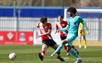 SOUTHAMPTON, ENGLAND - MARCH 21: Luke Pearce (L) of Southampton during the Premier League 2 match between Southampton B Team and Liverpool at the Snows Stadium on March 21, 2021 in Southampton, England.  (Photo by Isabelle Field/Southampton FC via Getty Images)
