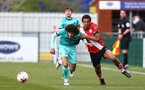 SOUTHAMPTON, ENGLAND - MARCH 21: Caleb Watts (R) of Southampton during the Premier League 2 match between Southampton B Team and Liverpool at the Snows Stadium on March 21, 2021 in Southampton, England.  (Photo by Isabelle Field/Southampton FC via Getty Images)