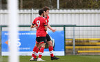 SOUTHAMPTON, ENGLAND - MARCH 21: Luke Pearce (R) of Southampton celebrates scoring with Jayden Smith (L) of Southampton during the Premier League 2 match between Southampton B Team and Liverpool at the Snows Stadium on March 21, 2021 in Southampton, England.  (Photo by Isabelle Field/Southampton FC via Getty Images)