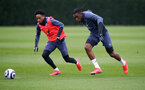 SOUTHAMPTON, ENGLAND - MARCH 24: Kyle Walker-Peters(L) and Dan N'Lundulu during a Southampton FC training session at the Staplewood Campus on March 24, 2021 in Southampton, England. (Photo by Matt Watson/Southampton FC via Getty Images)