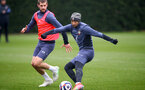 SOUTHAMPTON, ENGLAND - MARCH 24: Jack Stephens(L) and Nathan Redmond during a Southampton FC training session at the Staplewood Campus on March 24, 2021 in Southampton, England. (Photo by Matt Watson/Southampton FC via Getty Images)