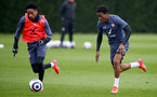 SOUTHAMPTON, ENGLAND - MARCH 24: Kyle Walker-Peters(L) and Nathan Tella during a Southampton FC training session at the Staplewood Campus on March 24, 2021 in Southampton, England. (Photo by Matt Watson/Southampton FC via Getty Images)