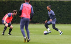 SOUTHAMPTON, ENGLAND - MARCH 31: Theo Walcott(R) and Will Ferry(L) during a Southampton FC training session at the Staplewood Campus on March 31, 2021 in Southampton, England. (Photo by Matt Watson/Southampton FC via Getty Images)
