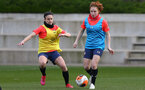 SOUTHAMPTON, ENGLAND - April 01: Molly Mott (R) during Southampton Women's training session at Staplewood Complex on April 01, 2021 in Southampton, England.  (Photo by Isabelle Field/Southampton FC via Getty Images)