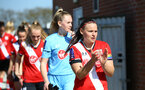 SOUTHAMPTON, ENGLAND - APRIL 04: Shannon Siewright of Southampton walking out ahead of the Vitality Women's FA Cup second round match between Southampton Women and Plymouth Argyle Women at The Snows Stadium on April 04, 2021 in Southampton, England. (Photo by Isabelle Field/Southampton FC via Getty Images)