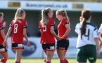 SOUTHAMPTON, ENGLAND - APRIL 04: Rosie Parnell (L) of Southampton celebrates scoring with team mates Cattlin Morris (R) of Southampton during the Vitality Women's FA Cup second round match between Southampton Women and Plymouth Argyle Women at The Snows Stadium on April 04, 2021 in Southampton, England. (Photo by Isabelle Field/Southampton FC via Getty Images)