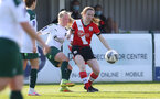 SOUTHAMPTON, ENGLAND - APRIL 04: Charley Evans (R) of Southampton during the Vitality Women's FA Cup second round match between Southampton Women and Plymouth Argyle Women at The Snows Stadium on April 04, 2021 in Southampton, England. (Photo by Isabelle Field/Southampton FC via Getty Images)