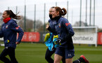 SOUTHAMPTON, ENGLAND - OCTOBER 21: Rachel Panting (R) during Southampton Women's training session at Staplewood Complex on October 21, 2020 in Southampton, England. (Photo by Isabelle Field/Southampton FC via Getty Images)