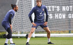SOUTHAMPTON, ENGLAND - APRIL 08: Theo Walcott(L) and Jan Bednarek during a Southampton FC training session at the Staplewood Campus on April 08, 2021 in Southampton, England. (Photo by Matt Watson/Southampton FC via Getty Images)