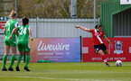 SOUTHAMPTON, ENGLAND - APRIL 11: Shannon Siewright (R) of Southampton take free kick during the Vitality Women's FA Cup third round match between Southampton Women and Yeovil United Women at The Snows Stadium on April 11, 2021 in Southampton, England. (Photo by Isabelle Field/Southampton FC via Getty Images)