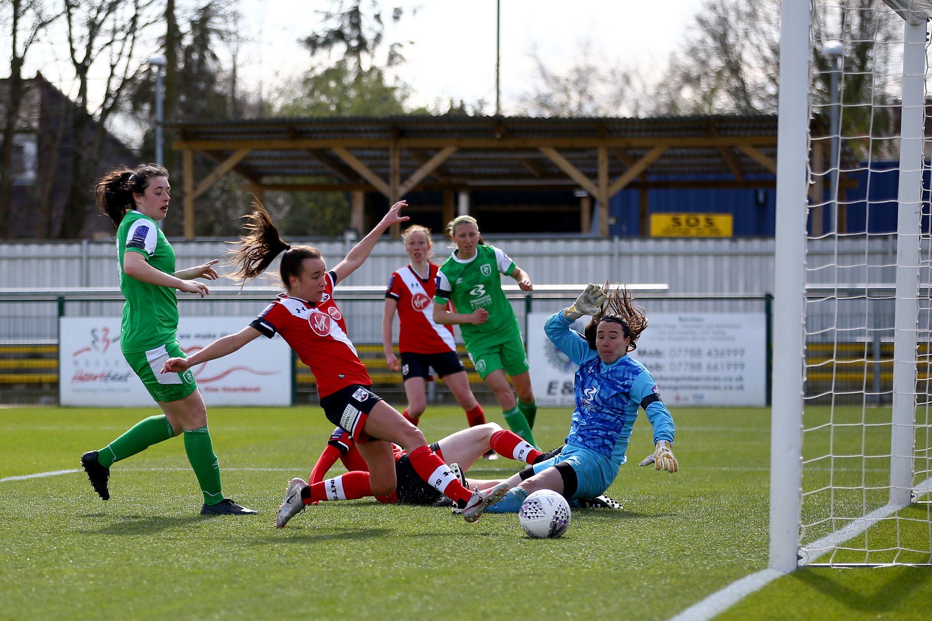 SOUTHAMPTON, ENGLAND - APRIL 11: Sophia Pharoah scores the second goal for Southampton during the Vitality Women's FA Cup third round match between Southampton Women and Yeovil United Women at The Snows Stadium on April 11, 2021 in Southampton, England. (Photo by Isabelle Field/Southampton FC via Getty Images)