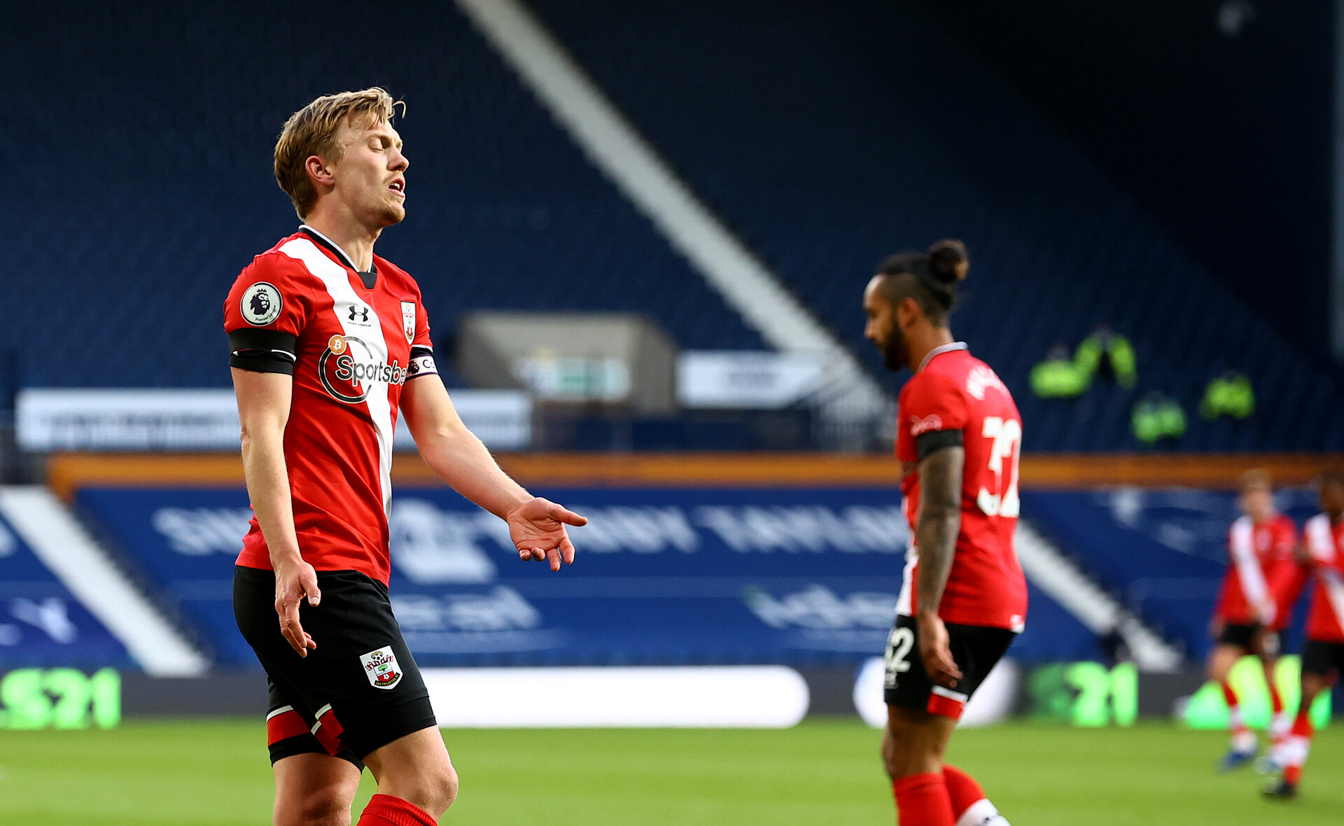 WEST BROMWICH, ENGLAND - APRIL 12: James Ward-Prowse of Southampton dejected during the Premier League match between West Bromwich Albion and Southampton at The Hawthorns on April 12, 2021 in West Bromwich, England. Sporting stadiums around the UK remain under strict restrictions due to the Coronavirus Pandemic as Government social distancing laws prohibit fans inside venues resulting in games being played behind closed doors. (Photo by Matt Watson/Southampton FC via Getty Images)