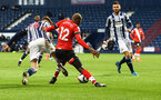 WEST BROMWICH, ENGLAND - APRIL 12: Moussa Djenepo of Southampton wins a penalty during the Premier League match between West Bromwich Albion and Southampton at The Hawthorns on April 12, 2021 in West Bromwich, England. Sporting stadiums around the UK remain under strict restrictions due to the Coronavirus Pandemic as Government social distancing laws prohibit fans inside venues resulting in games being played behind closed doors. (Photo by Matt Watson/Southampton FC via Getty Images)