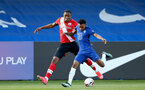 KINGSTON UPON THAMES, LONDON, ENGLAND - APRIL 12: Dan N'Lundulu (L) of Southampton during the Premier League 2 match between U23 Chelsea FC and Southampton B Team at the Kingsmeadow Stadium on April 12, 2021 in Kingston upon Thames, London, England.  (Photo by Isabelle Field/Southampton FC via Getty Images)