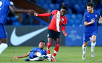KINGSTON UPON THAMES, LONDON, ENGLAND - APRIL 12: Kazeem Olaigbe (R) of Southampton during the Premier League 2 match between U23 Chelsea FC and Southampton B Team at the Kingsmeadow Stadium on April 12, 2021 in Kingston upon Thames, London, England.  (Photo by Isabelle Field/Southampton FC via Getty Images)