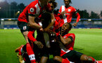 KINGSTON UPON THAMES, LONDON, ENGLAND - APRIL 12: Kazeem Olaigbe of Southampton celebrating with his team mates after opening the scoring during the Premier League 2 match between U23 Chelsea FC and Southampton B Team at the Kingsmeadow Stadium on April 12, 2021 in Kingston upon Thames, London, England.  (Photo by Isabelle Field/Southampton FC via Getty Images)