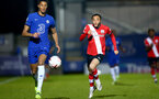 KINGSTON UPON THAMES, LONDON, ENGLAND - APRIL 12: Jayden Smith (R) of Southampton during the Premier League 2 match between U23 Chelsea FC and Southampton B Team at the Kingsmeadow Stadium on April 12, 2021 in Kingston upon Thames, London, England.  (Photo by Isabelle Field/Southampton FC via Getty Images)