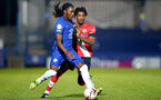KINGSTON UPON THAMES, LONDON, ENGLAND - APRIL 12: Ramello Mitchell (R) of Southampton during the Premier League 2 match between U23 Chelsea FC and Southampton B Team at the Kingsmeadow Stadium on April 12, 2021 in Kingston upon Thames, London, England.  (Photo by Isabelle Field/Southampton FC via Getty Images)