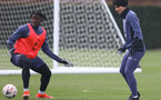 SOUTHAMPTON, ENGLAND - APRIL 14: Mohammed Salisu(L) and Takumi Minamino during a Southampton FC training session at the Staplewood Campus, on April 14, 2021 in Southampton, England. (Photo by Matt Watson/Southampton FC via Getty Images)